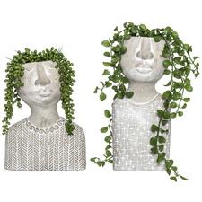 2 Piece Emilie & Emile Faux Succulent in Ceramic Vase