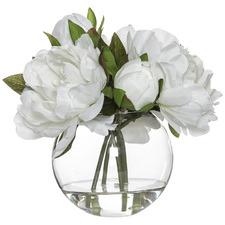 23cm Faux Peony Bouquet in Glass Vase
