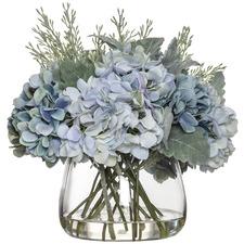 29cm Faux Hydrangea Bouquet in Glass Bowl