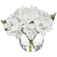 18cm Faux Hydrangea in Glass Vase