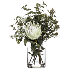 White Faux Protea in Glass Vase