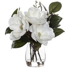 43cm Faux Magnolia in Glass Vase