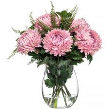 51cm Faux Chrysanthemum in Glass Vase