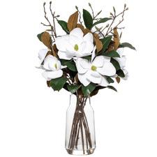 89cm Faux Magnolia in Glass Vase