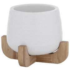 Karson Ceramic & Rubberwood Planter
