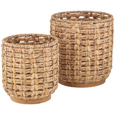 2 Piece Natural Taytay Water Hyacinth Basket Set