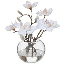 21cm Faux Magnolia with Glass Vase