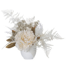 35cm Potted Faux Cream Mix Dried Look Peony Plant
