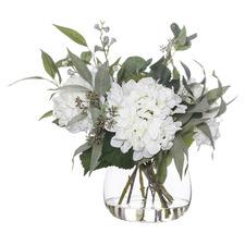 48cm Faux Mix Native Hydrangea Plant with Glass Vase