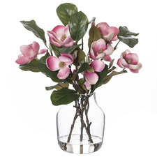 43cm Faux Chinese Magnolia Plant with Glass Vase