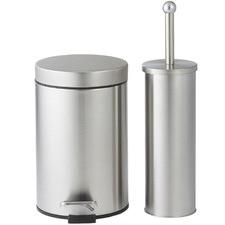 2 Piece Silver Classic Step-On Bin & Toilet Brush Set