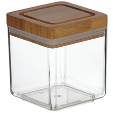 1L Acrylic & Bamboo Canisters with Lids (Set of 6)