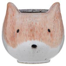 Large Felix Fox Ceramic Pot Planters (Set of 2)