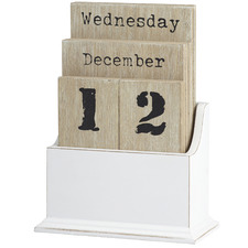 Natural & White Desk Calendar