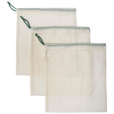 Natural Medium Cotton Produce Bags (Set of 3)