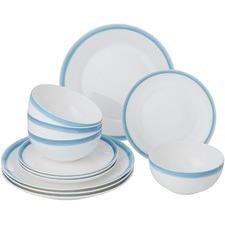 12 Piece Blue Watercolour Bone China Dinner Set (Set of 2)