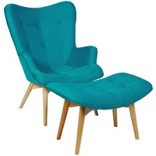 Blue Loco Occasional Chair with Ottoman