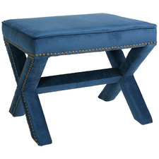 Blue Haven Velvet Foot Stool