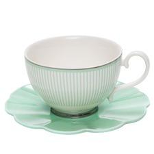 Eclectic Green Teacup & Saucer (Set of 2)