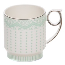 Eclectic  Green Stripe Mugs (Set of 2)