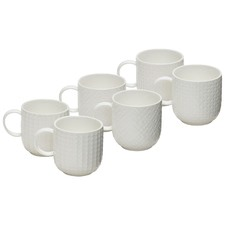 Salt & Pepper White Embossed 300ml Porcelain Mugs (Set of 6)