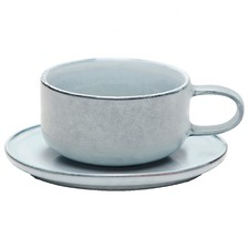 Salt & Pepper Relic Stoneware Teacup & Saucer Sets (Set of 6)