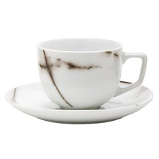 Salt & Pepper Marbled Porcelain Teacup & Saucer Sets (Set of 6)
