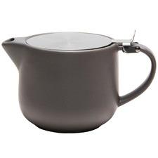 Grey & Black Flat Top Stoneware Teapot