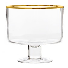 Gold Trimmed Valencia Glass Trifle Bowl