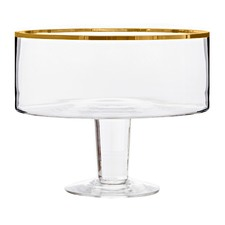 Medium Gold Trimmed Valencia Glass Trifle Bowl