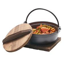 1L Tetsu Cast Iron Pot with Wooden Lid & Trivet