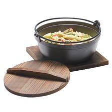 1.8L Tetsu Cast Iron Pot with Wooden Lid & Trivet
