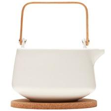 1L White Navian Tea Pot & Cork Trivet