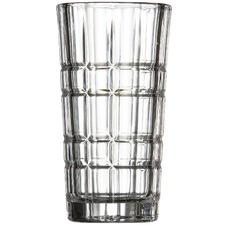 Salt & Pepper Bond Grid Highball Glasses (Set of 4)