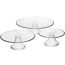 3 Piece Valencia Glass Cake Stand Set