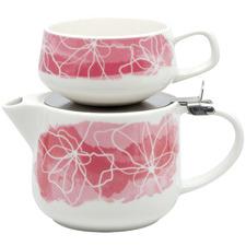 2 Piece Pink Lilia T4Me Teapot & Mug Set