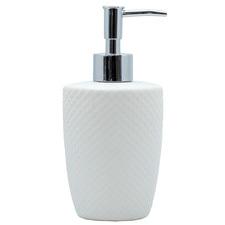 Salt & Pepper White Embossed Ceramic Soap Dispenser