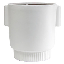 White Cylindrical Origin Terracotta Planter