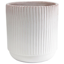 White Speckled Origin Ribbed Terracotta Planter