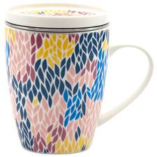 Multi-Colour Versico Mug with Tea Strainer & Lid