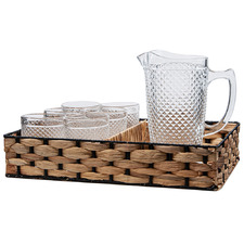 7 Piece Glass Drinkware Set with Tray