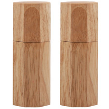Natural Octavo Rubberwood Salt & Pepper Mills (Set of 2)