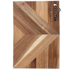 Small Rectangular Raffia Acacia Wood Serving Board