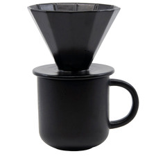 2 Piece Black Brew Mug & Pour-Over Set