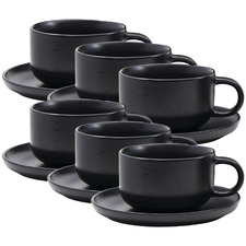 Black Brew New Bone China Teacups & Saucers (Set of 6)