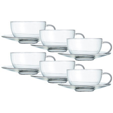 Brew Glass Teacups & Saucers (Set of 6)