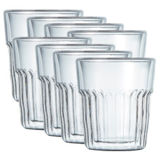 Brew Crinkle Double Wall 240ml Latte Glasses (Set of 8)