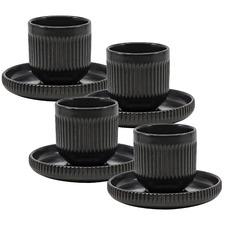Black Brae Stoneware Espresso Cups & Saucers (Set of 4)