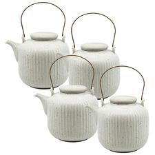 White Caro Speckled 1L Tea Pots (Set of 4)