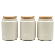 Salt & Pepper 3 Piece Cream Stoneware Canister Set